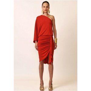 Michael Kors One Shoulder Shirred Jersey Dress
